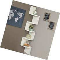 Best Choice Products Large Corner Wood Zig Zag Wall Shelf
