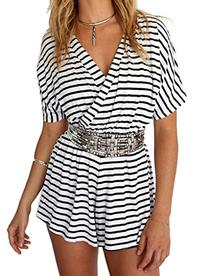 Choies Women's Cotton Casual Stripe Wrap V Neck Short Sleeve