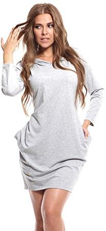 Glamour Empire Women's Cotton Hooded Tulip Dress w/ Pockets