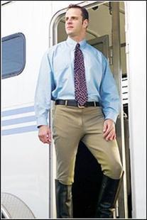 TuffRider Men's Cotton Knee Patch Breeches , Light Tan, 32