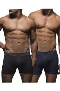 Jeep Men's 2 Pack Cotton Plain Fitted Hipster Trunk Boxer