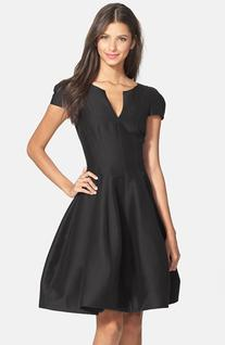 Women's Halston Heritage Cotton & Silk Fit & Flare Dress,