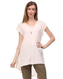 Cotton Slub Cap Sleeve Flare Hem Tunic with V Neck