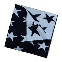 Elegant Baby 100% Cotton Sweater Knit Blanket, Navy Star, 30