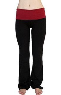 Popular Basics Women's Cotton Yoga Pants With Fold Down