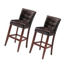 "Set Of 2 Counter Height 24"" Parsons Chairs With Brown Finish"