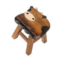 Cow Design Hand Carved Acacia Hardwood Decorative Short