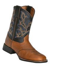 Justin Boys' Mahogany Cowboy Boot Square Toe Mahogany 13.5 D