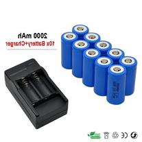10x 2000mah 3.7v Cr123a 16340 Li-ion Rechargeable Battery +
