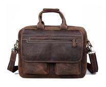 Kattee Crazy Horse Leather Briefcase Shoulder Business