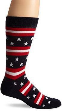 K. Bell Socks Stars and Stripes Crew Sock, Red/White/Blue,