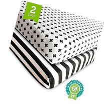 Crib Sheet Fitted Jersey Cotton  Black, White, Stripes,