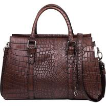 London Fog Handbags Croft Satchel Mahogany Croco - London