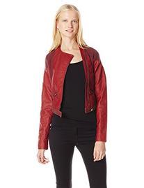 Miss Me Junior's Crop Zip Up Moto Jacket, Red, Medium