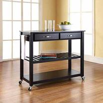 Crosley Furniture Solid Black Granite Top Kitchen Cart with