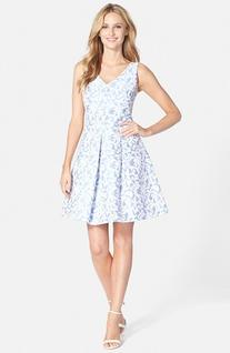 Women's Taylor Dresses Cross Back Jacquard Fit & Flare Dress