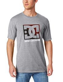 DC Men's Cross Star T-Shirt, Heather Grey/Maroon, Large