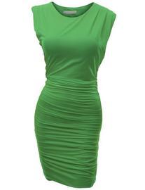Doublju Women's Crossover Sleeveless Pin-Tuck Strech Dress