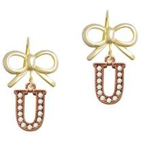 Crystal Rose Gold Tone Initial - U - Gold Tone Layla Bow