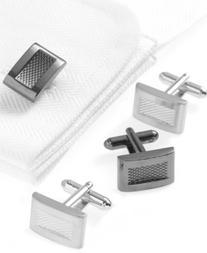 Geoffrey Beene Cufflinks, Textured Square Boxed Set