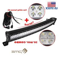 2PACK Curved 180w Cree LED Light Bar, PME® 32 Inch 15000lm