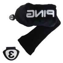 New Ping Custom Fur #3 Wood Sock Headcover COLOR: Black
