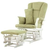 Stork Craft Custom Tuscany Glider and Ottoman - Sage Fabric/