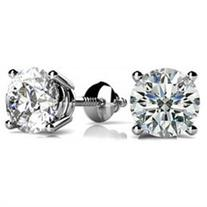 2.00 ct Round Cut Cubic Zirconia Stud Earrings in Screw Back