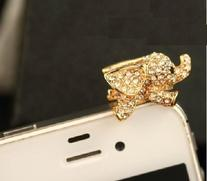 MobilePick® Dust Plug Charm For Galaxy S5 Cute Crystal Gold