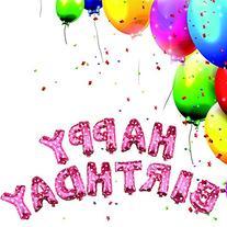Fecedy Cute Pink Alphabet Letters foil Balloons Happy