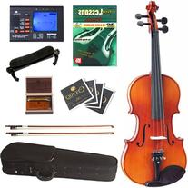 Cecilio CVN-300 Ebony Fitted Solid Wood Violin with Tuner and Lesson Book, Size 1/4
