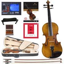 Cecilio CVN-500 Solidwood Ebony Fitted Violin with D'Addario