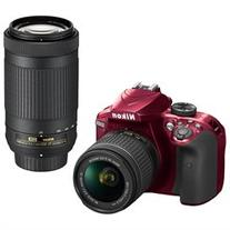 Nikon D3400 Red Double Zoom Lens Kit 24.2MP Digital SLR
