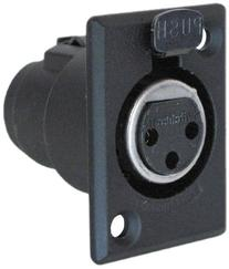 Switchcraft D3FB 3-Pin Female XLR Panel Mount Plug, Black