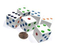 Set of 6 D6 25mm Large Opaque Jumbo Dice - White with