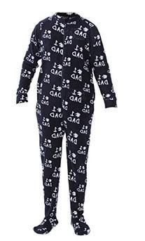 Club Room Men's #1 Dad Fleece Footed Pajamas Navy S