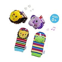 Daisy 4 x Animal Infant Baby Kids Wrist Rattle & Foot Finder