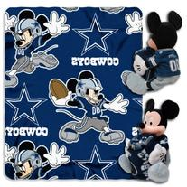 NFL Dallas Cowboys Mickey Mouse Pillow with Fleece Throw
