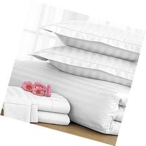 Charter Club Damask Stripe 500T White Full/Queen Duvet Cover