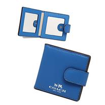Coach Darcy Mirror/Compact Leather Folding Mirror Cerulean