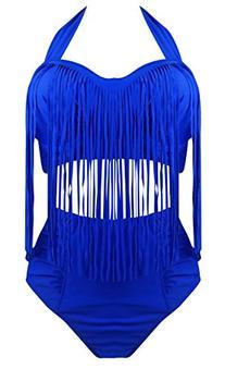 Cocoship Dark Blue Plus Size Retro Tassel High Waist Bikini