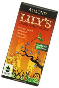 Lily's Dark Chocolate Bar with Stevia, Almond, 3 Ounce
