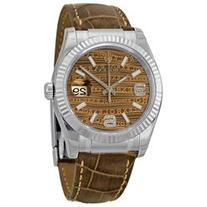 Rolex Datejust Brown Jubilee Brown Dial Bronze Leather Strap