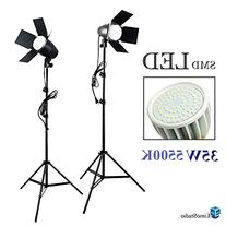 LimoStudio LED Day Light Bulb 2 pcs x Continuous Barndoor