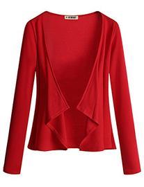 Doublju Jersey Knit Draped Open Front Cardigan  RED MEDIUM
