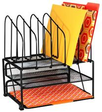 DecoBros Mesh Desk Organizer with Double Tray and 5 Upright