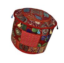 Lalhaveli Decorative Embroidered Cotton Round Footstool