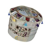 Decorative Embroidered Floor Footstool Cover 18 x 18 x 14