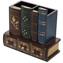 Decorative Library Books Design Wooden Office Supply Caddy