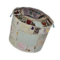 Decorative Patchwork Pouf Ottoman Footstool Cover 18 x 18 x